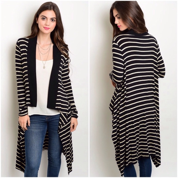 adef76427c 🚨FINAL PRICE🚨Black Ivory Striped Open Cardigan